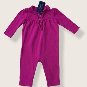 NWT Ralph Lauren Baby Girl Pink Jumpsuit Sz 9 M